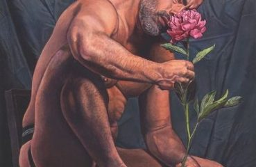 painting of man smelling flower