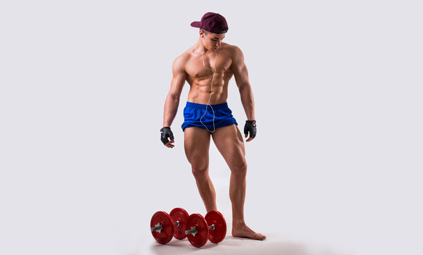 man with red dumbells