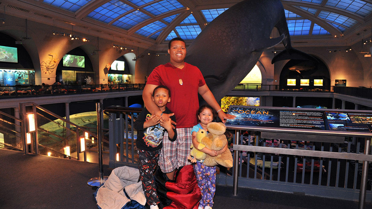 family at museum sleepover
