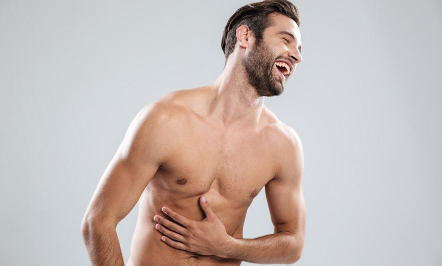 Shirtless Man Laughing