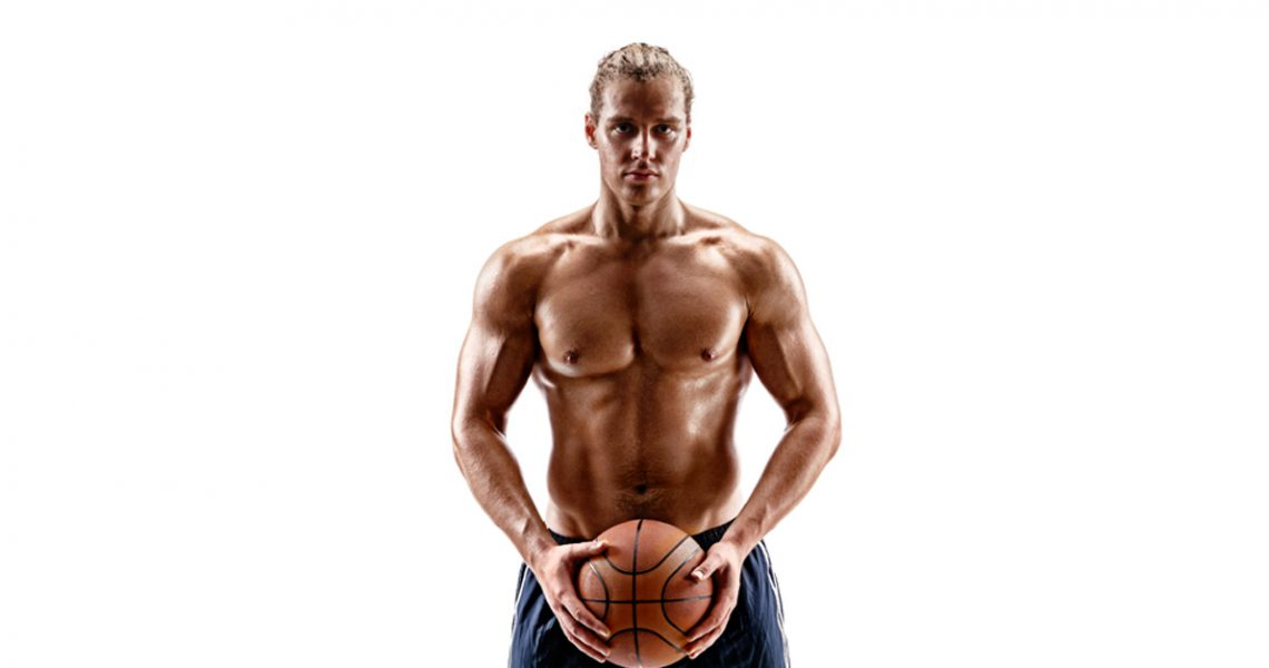 shirtless basketball player