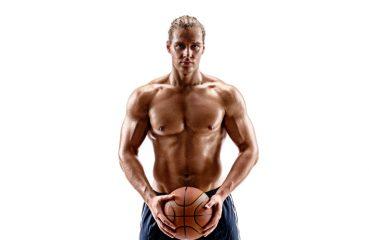 shirtless basketball player