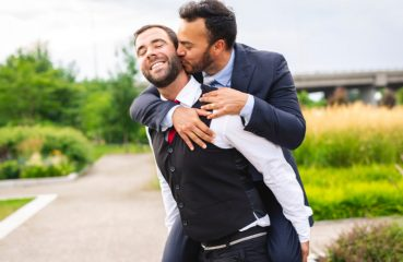 gay men celebrate marriage equality