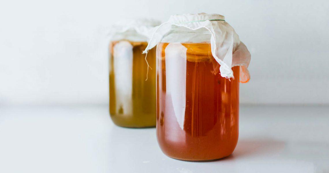homemade kombucha in jars