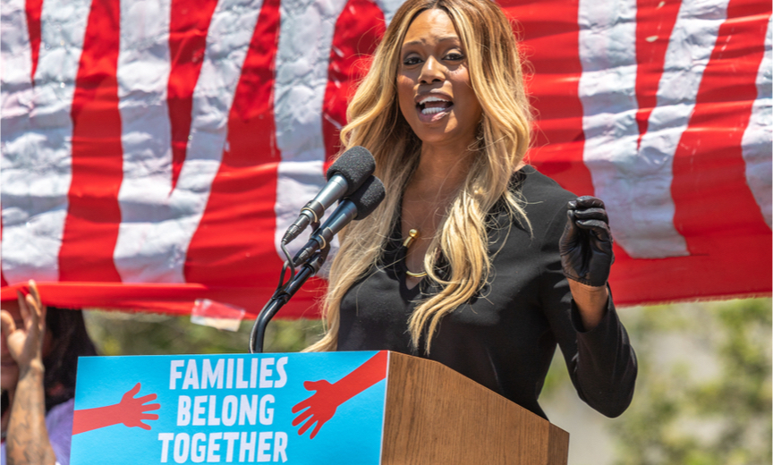 Laverne Cox at the podium