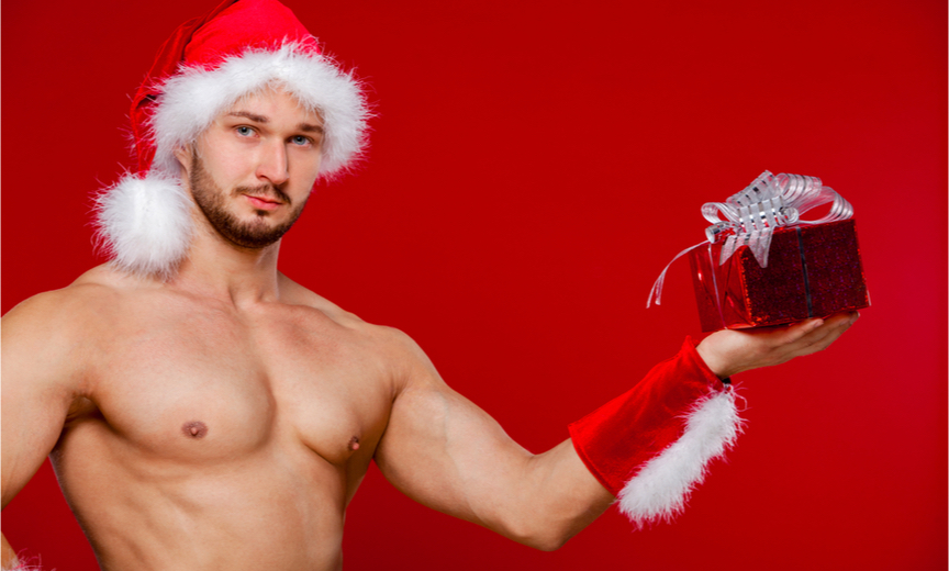 Sexy shirtless Santa